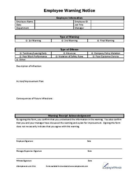 employee warning form printable pdf disciplinary forms