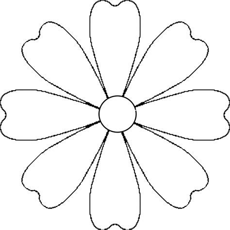 flower template for coloring free coloring pages of five petal flowers