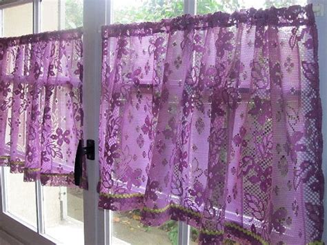 Purple Cafe Curtains Aubergine Lace Cafe Curtains Purple Kitchen Curtains
