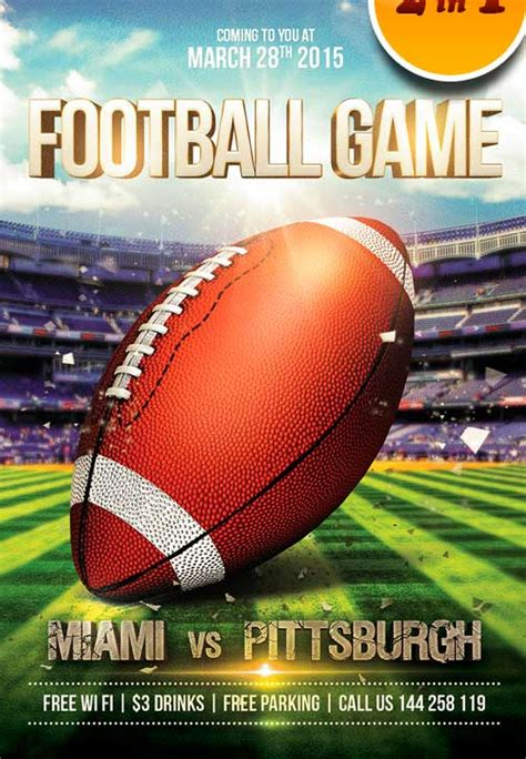 football game free flyer psd template psd download