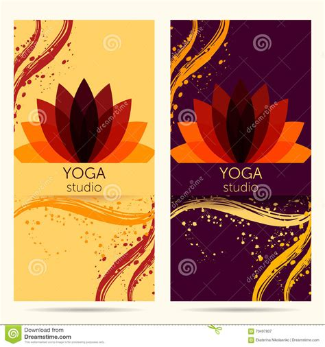 banner design for yoga design template for yoga studio with abstract lotus flower