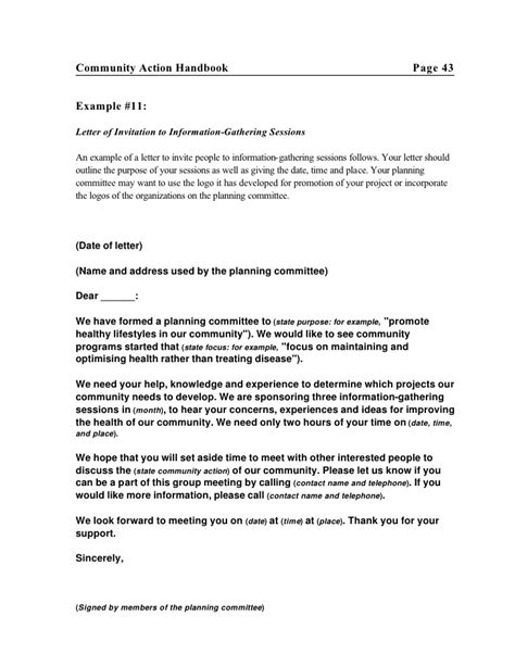Invitation Letter Format For Session Communityaction Hndbk