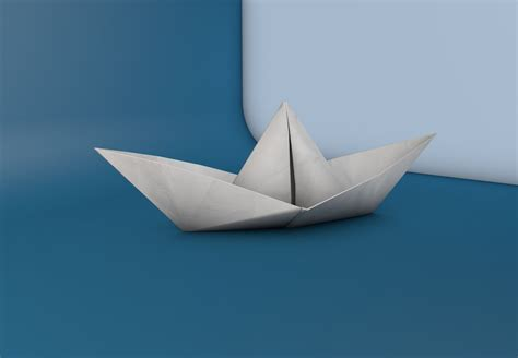 3d paper boat paper boat 3d model
