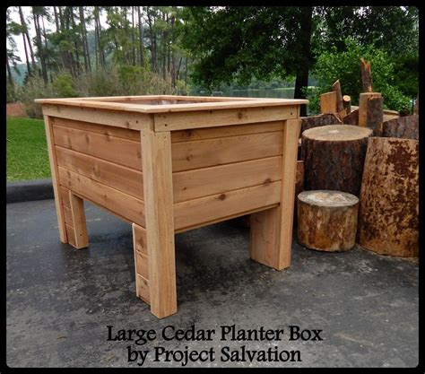 custom raised cedar planter box by project salvation