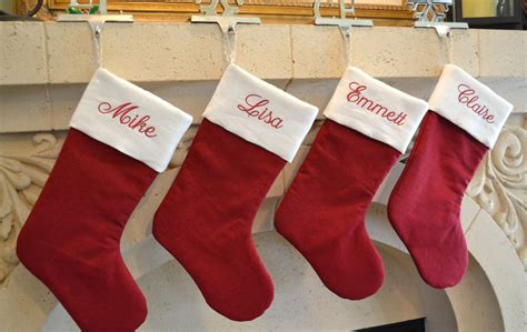 monogrammed christmas stockings personalized linen christmas stocking monogrammed red and