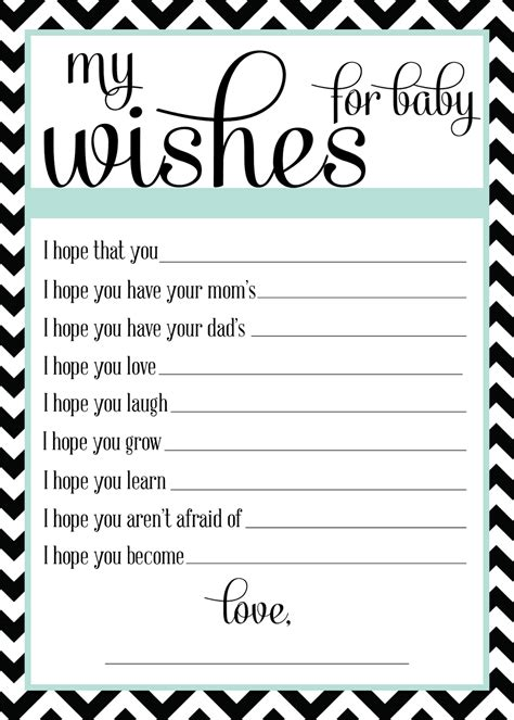 wishes for baby printable template sugar october 2013