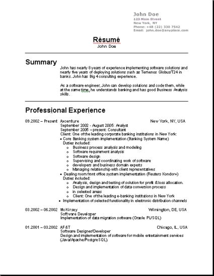 Resume Template Usa by Cv Template Ie Http Webdesign14