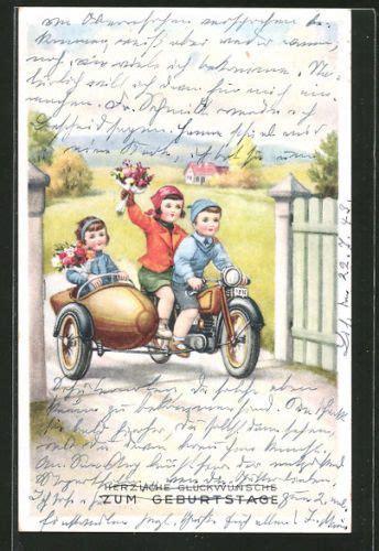 Motorradgespann Kinder by Ak Herzliche Glueckwuensche Zum Geburtstag Kinder Auf