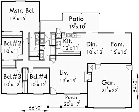 4 bedroom house floor plans one story house plans ranch house plans 4 bedroom house