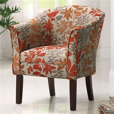 accent upholstery accent chair in floral pattern fabric by coaster 460407