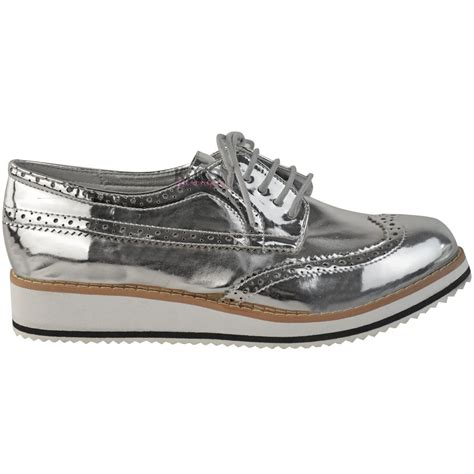 womens flat loafers creepers chunky sole lace up