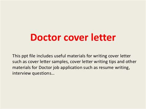 Homeopathy Doctor Cover Letter by Doctor Cover Letter