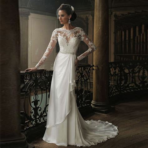 wedding gown sleeve styles vintage style 2017 winter sleeve beaded lace floor