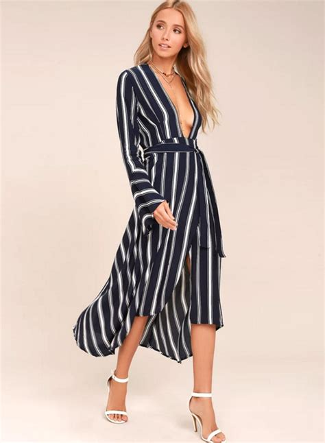 V Neck Stripe Sleeve Dress s casual v neck sleeve stripe irregular maxi