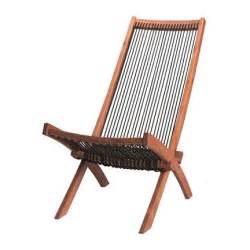 Ikea deck chair acacia wood string twine rope mid century modern