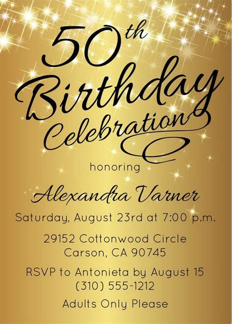 printable invitations for 50th birthday 50th birthday invitation printable gold 50th birthday invites by announce it