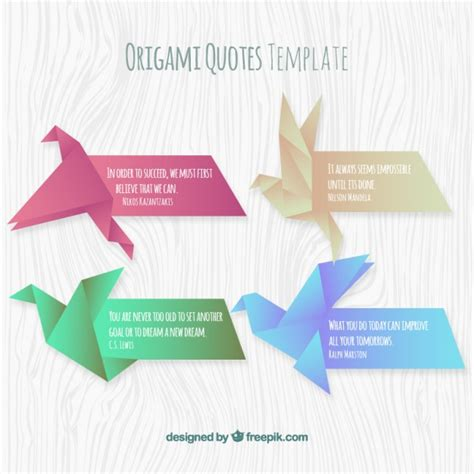 Origami Templates For - origami quotes template set vector free