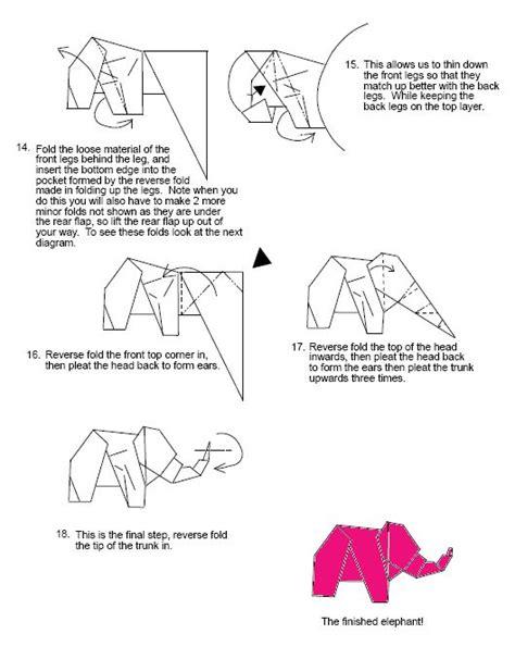 Origami Elephant Diagram - elephant 1 pink elephant origami diagrams origami