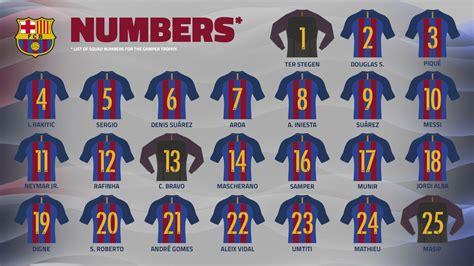 kit jugadores de ftbol bara vs madrid 10p fc barcelona shirt numbers for 2016 17 season fc barcelona