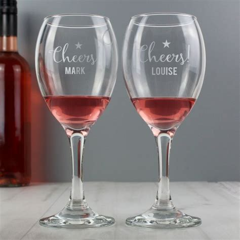 wine glass cheers personalised cheers wine glass set my gifts