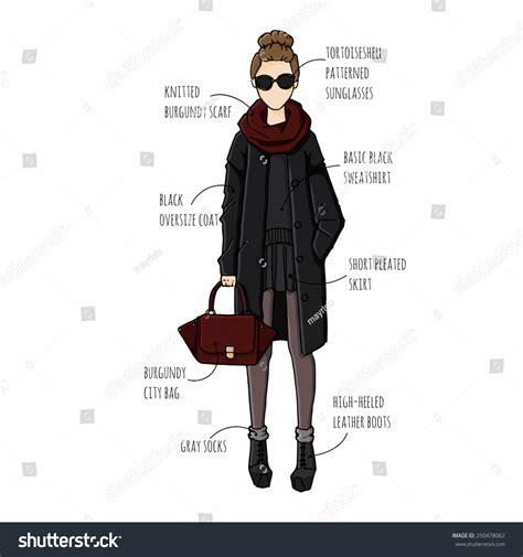 fashion illustration description fashion sketch drawing beautiful looks stock vector