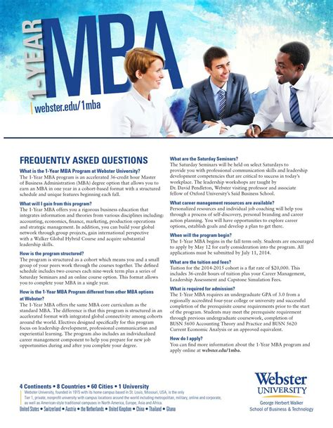Oxford Mba Program Calendar by 1 Year Mba Faq By Walker School Of Business Technology
