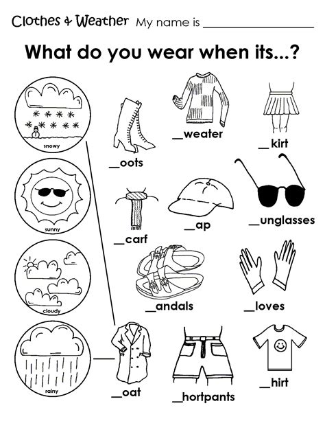 clothes for different seasons worksheet clothes for different seasons worksheet