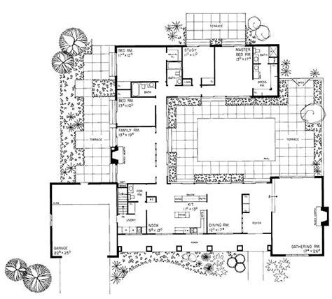 Southwest House Plans With Courtyard by Ranch Southwest House Plan 95117