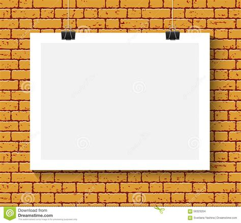 poster mock up on the brick wall stock vector image poster mock up on the brick wall stock vector image
