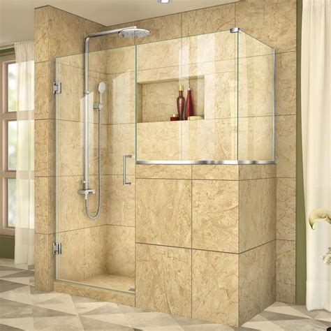Dreamline Frameless Shower Doors Shop Dreamline Unidoor Plus 58 In To 58 In W Frameless Chrome Hinged Shower Door At Lowes
