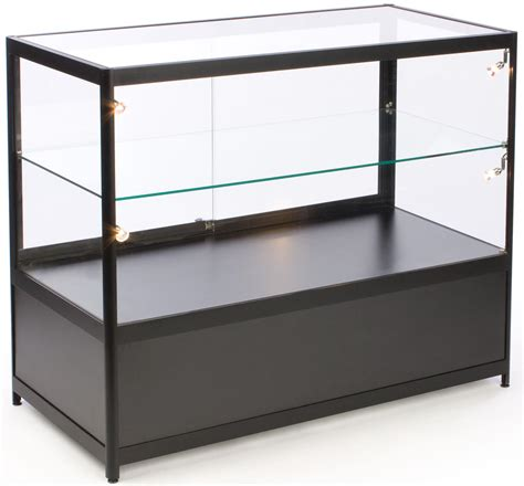 lockable glass display cabinet showcase glass counter locking storage base w black lights