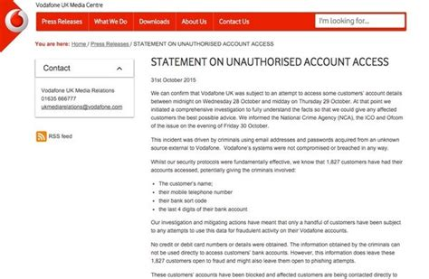 vodafone bank account number hackers accessed details of 1 827 vodafone
