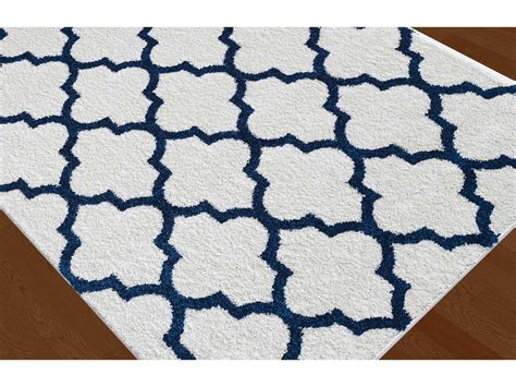 Navy And White Area Rug Tayse Rugs Modern Shag Mackenzie Rectangular White Navy Area Rug Mdr1006 White