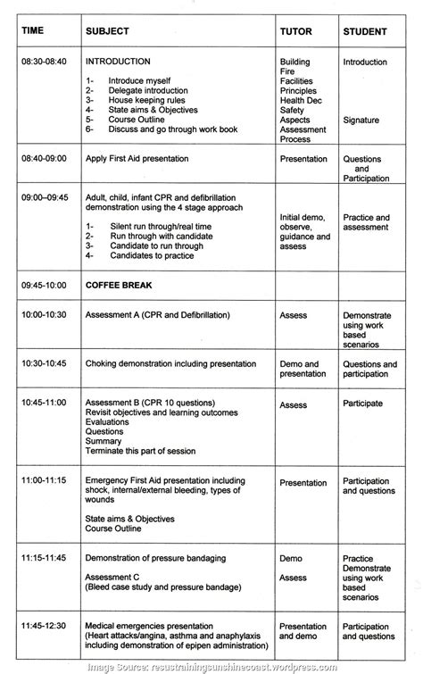 Aid Lesson Plan Template Simple First Aid Lesson Plans Apply First Aid Lesson Plan Hmg Resuscitation Saving Live