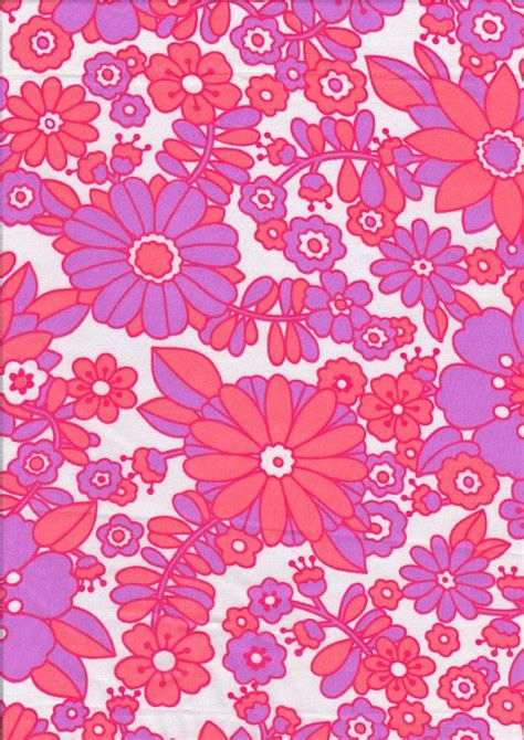 pattern fabric retro vintage fabric 1960s retro pink orange floral by