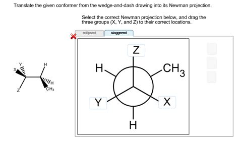 Drawing Newman Projections by Translate The Given Conformer From The Wedge And Dash