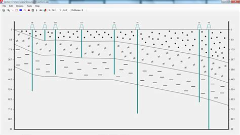 how to draw a cross section geology geologynet geology software crosssectionms software for