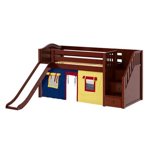 low loft bed with slide maxtrixkids aerie29 cc low loft bed with staircase on