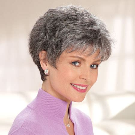 salt and pepper pixie cut human hair wigs synthetic cancer patients wigs chemo wigs cancer hair