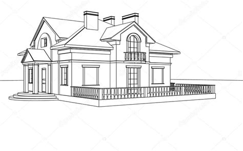 drawing sketch   house stock photo  sergeymansurov