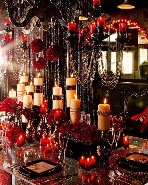 Dark, dramatic and elegant Gothic wedding reception idea