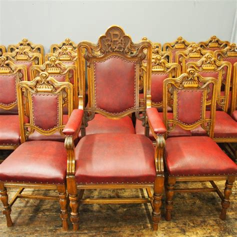 set   victorian carved oak dining chairs  sale