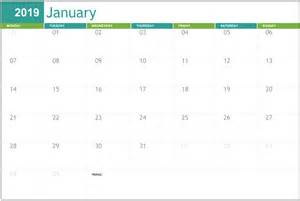 editable january  calendar printable template