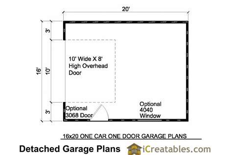 16x20 floor plans 16x20 1 car 1 door detached garage plans