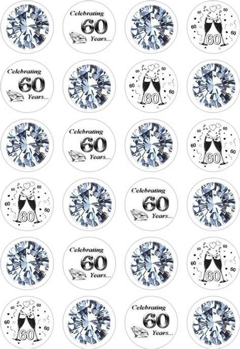 24 60th Diamond Wedding Anniversary Cupcake Cake Toppers