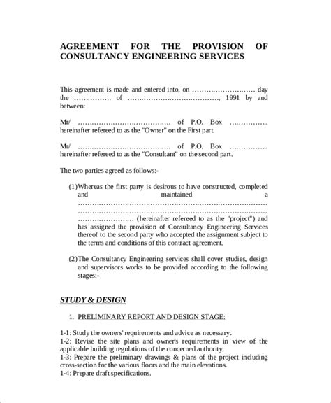 sle consulting agreement template engineering services contract template 28 images