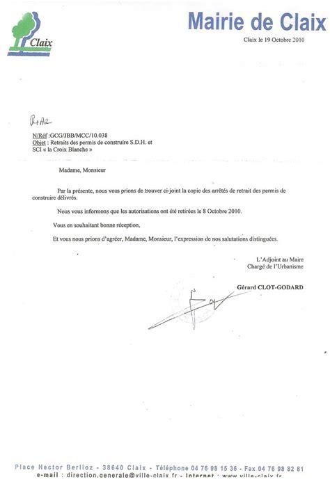 lettre de retrait de permis de construire la croix blanche les 2 permis de construire retir 233 s claix naturellement