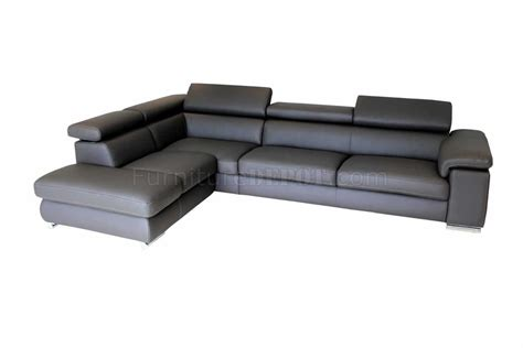 dark gray sectional dark grey leather modern sectional sofa w adjustable headrests