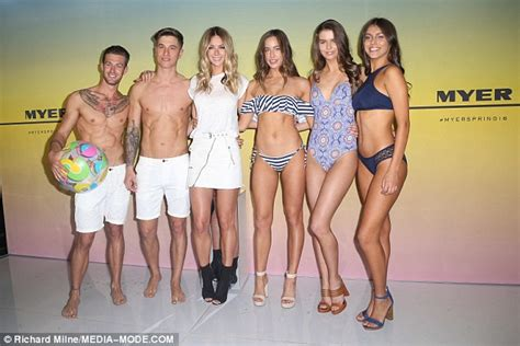 bevy smith in swimsuit jennifer hawkins flaunts her bronzed pins as she hosts