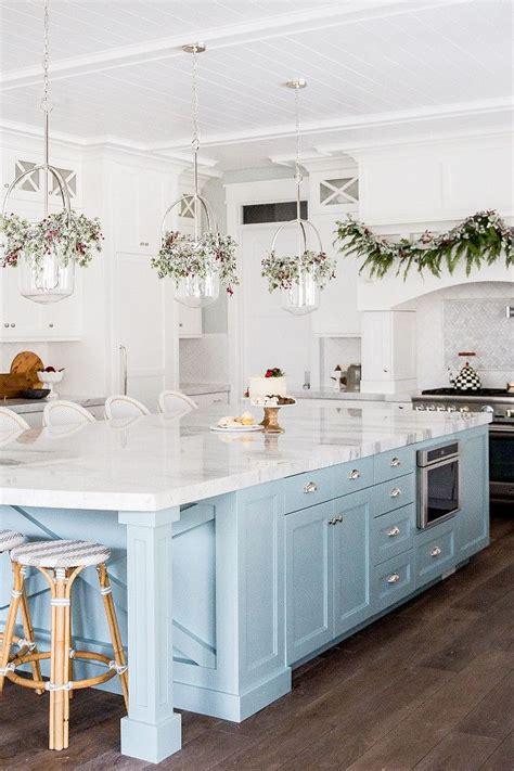 kitchen  white cabinets  light blue island pinned